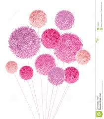 Handmade Nursery Decor by Vector Bouquet Of Pom Poms Baby Girl Pink Decorative Element