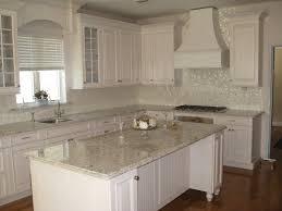 kitchen classy backsplash white cabinets black countertops gray
