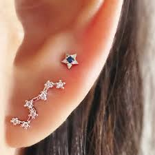 constellation ear crawler silver ear climber silver ear pin