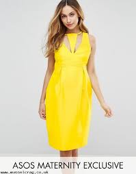 yellow womens asos maternity cut out neck pencil dress n6hhmmiw