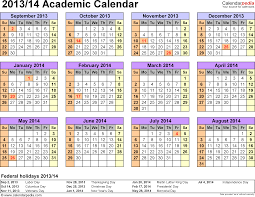academic calendars 2013 2014 as free printable pdf templates