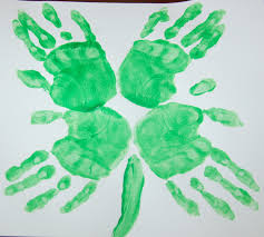 st patrick u0027s day four leaf clover hand print art in lieu of