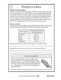 5th grade science worksheets friction is a force greatschools