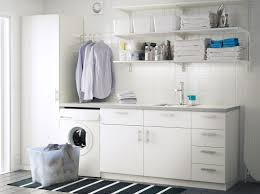 Metod Wall Cabinet With Shelves by A Laundry Room With White Wall Shelves Base Cabinets With Doors