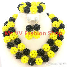 yellow necklace set images 2018 latest design beads necklace sharp yellow black african jpg