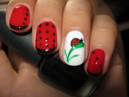 today nail art ladybug and white nail design