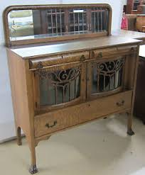 antique sideboard tiger oak with curved glass doors ebay