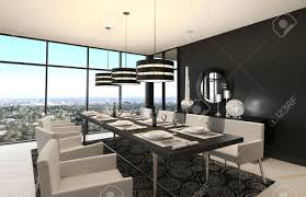 luxury dining room 3d rendering of modern luxury dining room interior and scenic