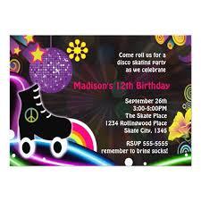 disco glow roller skating skate party invitation zazzle com