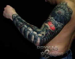 men full sleeve cover up with awesome biomechanical tattoo