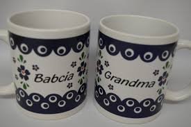 babcia grandma mug from poland blue eye country style