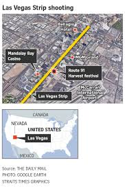 Las Vegas Strip Map Almost 60 Dead More Than 500 Injured In Deadliest Mass Shooting