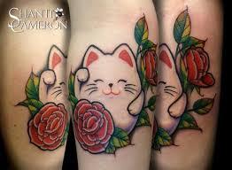 tattoo cat neko cat tattoo tattoos flower maneki neko lucky cat