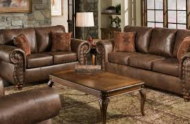 Leather Like Sofa Brown Smokey Leather Like Microfiber Classic Sofa Loveseat Set