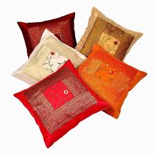 amazon com indian ethnic hand embroidery decorative silk pillow