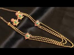 gold small necklace designs images 22k gold chandraharam designs beautiful 22k long gold necklace jpg