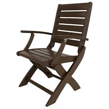 Plastic High Back Patio Chairs by Polywood Signature Teak Patio Folding Chair 1900 Te The Home Depot