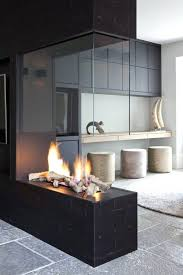 direct vent gas fireplace corner modern rocks contemporary