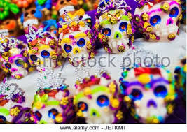 Sugar Skulls For Sale Colorful Candy Skulls On Sale In An Open Air Market For The Day Of