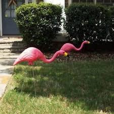 pink flamingo yard ornament plastic metal legs outdoor garden
