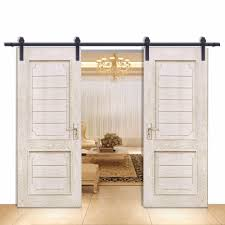 Barn Door Closet Hardware by Single Track Bypass Barn Door Hardware Kit Lets 2 Doors Overlap