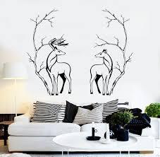 vinyl wall decal deers couple animals tree branches room decor vinyl wall decal deers couple animals tree branches room decor stickers 098ig
