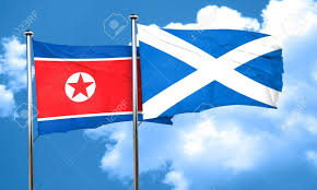 Scotland Flags North Korea Flag With Scotland Flag 3d Rendering Stock Photo