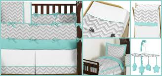 Zig Zag Crib Bedding Set Turquoise And Gray Zig Zag Baby And Bedding