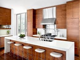 modern kitchen hood kitchen room waterfall countertops and barstools with oak kitchen