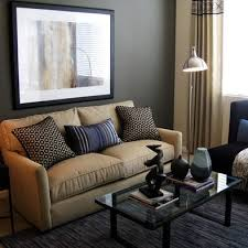 tan and grey living room and black couch in classy home interior