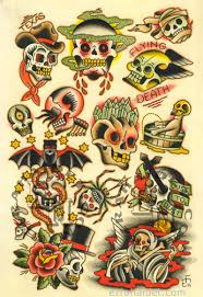 traditional flash print 2011 skulls by ezrahaidettattooer