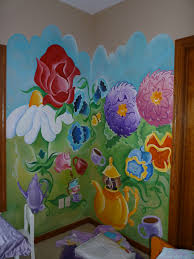 part of the alice in wonderland kids room i painted last summer wall murals