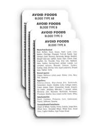 blood type avoid food cards blood type o blood type a blood