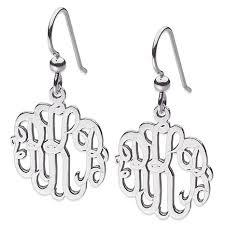 silver drop earrings 3 initial script monogram sterling silver drop earrings 8202134