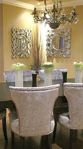 dining room features silver crushed velvet dining chairs espresso