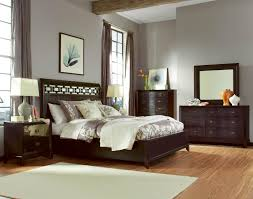 bedroom simple dark wood drawer cabinet brown wall pai bedside