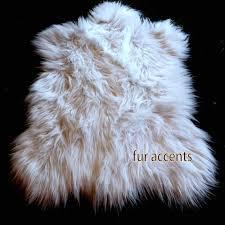 White Accent Rug Long Hair Shaggy Sheepskin Area Rug Plush Faux Fur Off White