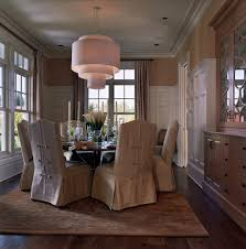 transitional chandeliers for dining room short slipcovered parson chair dining room transitional with
