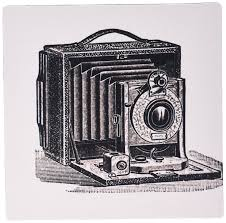 3drose black and white vintage camera ink and pen drawing print