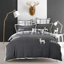 King Size Duvet Bedding Sets Washed Cotton Elk Embroidery Luxury Bedding Sets King Size