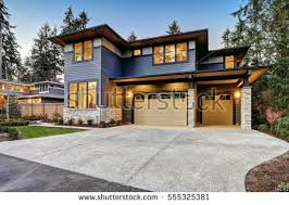 modern style home luxurious new construction home bellevue wa stock photo 555325381