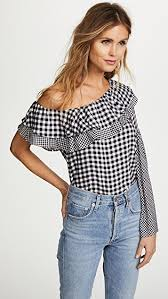 one shoulder blouse ella moon gingham one shoulder blouse shopbop