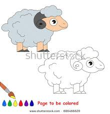 cute goat colored coloring book stock vector 678462682