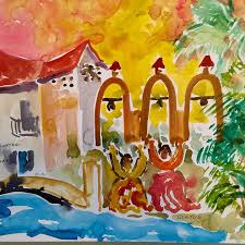 brother cletus painting of the arneson river theater san antonio texas