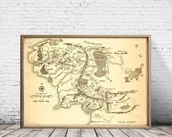 Map Home Decor Middle Earth Map Etsy