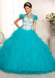 ball gown sweetheart tulle floor length beaded ruffle turquoise