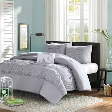 solid grey teen bedding elegant ruched comforter or duvet
