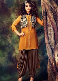 design of jacket suit buy kangana ranaut pure georgette dhoti suit embroidered