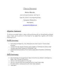 Audition Resume Template Cover Letter Dance Resume Format Dance Instructor Resume Format