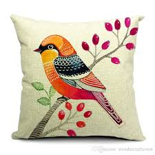 Throws And Cushions For Sofas 6 Styles Hand Painting Birds Cushions Covers Pillowcase Bird Tree